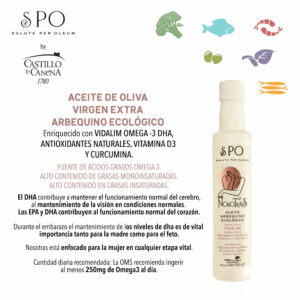 NOWOŚĆ! Oliwa Castillo de Canena Arbequina My Family organiczna 0,25 ltr VIDALIM omega 3 DHA, naturalne przeciwutleniacze, witamina D3, kurkuma